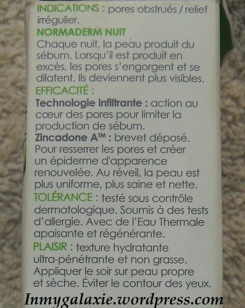 normaderm nuit indications